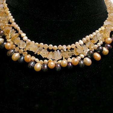 Shanghai Necklace Cafe Society Collection:   Gold and Black Pearl, Amber Crystal by CafeSocietyStore