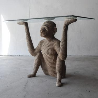 Vintage Sculptural Monkey Console Table by AgedModern