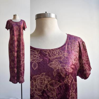 90s Maroon Velour Maxi Dress by milkandice