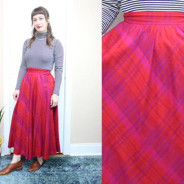 """Vintage 90's Pink Plaid Wool High Waisted Midi Skirt / 1990's Wool Lined Skirt with Pockets / Women's Size Small / 26"""" Waist by RubyThreadsVintage"""