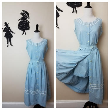 Vintage 1950's Playsuit Set / 50s Romper and Skirt S/M by SilhouettetsyVintage