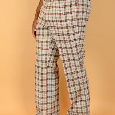 Vintage 70s Checkered Plaid Bell Bottom Trousers Pants Cream Red 36x32 35x32 37x32 by MAWSUPPLY