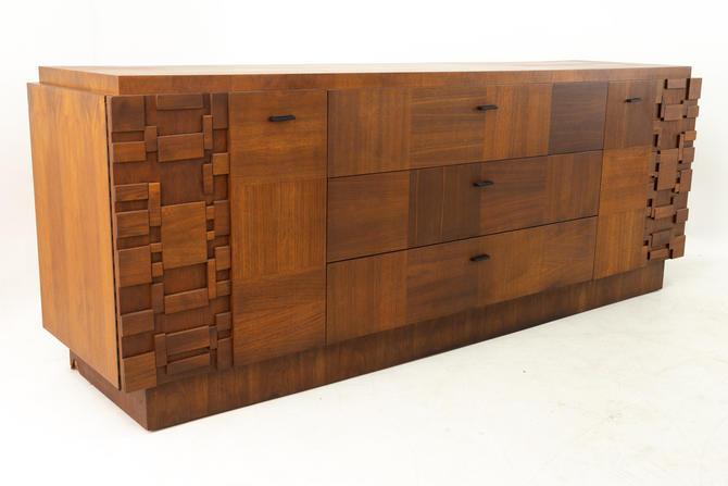 Lane Brutalist Mid Century Walnut 9 Drawer Lowboy Dresser by ModernHill