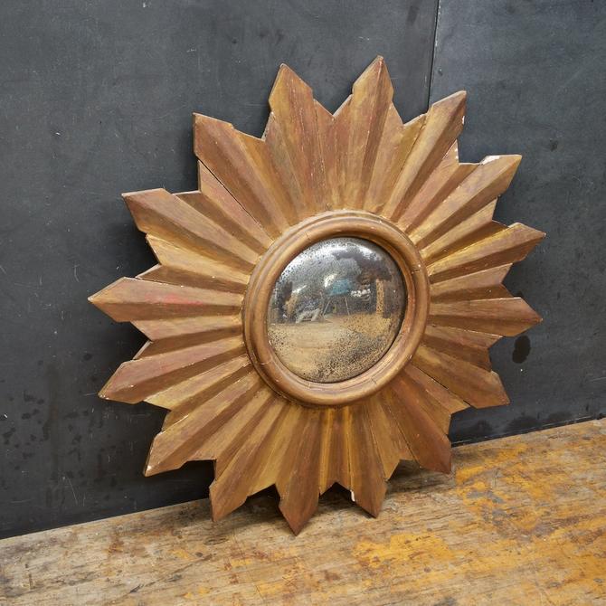 Starburst Mirror Convex Vintage Wooden Painted Shabby Chic Mid-Century Farmhouse by BrainWashington