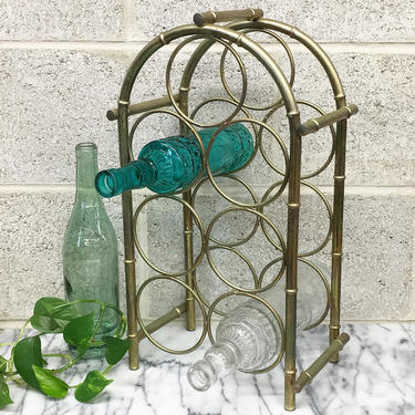 Vintage Wine Rack Retro 1980s Gold Metal + Arch Design + Holds 7 Bottles + Bamboo + Curved Details + Bar or Kitchen + Storage and Decor by RetrospectVintage215