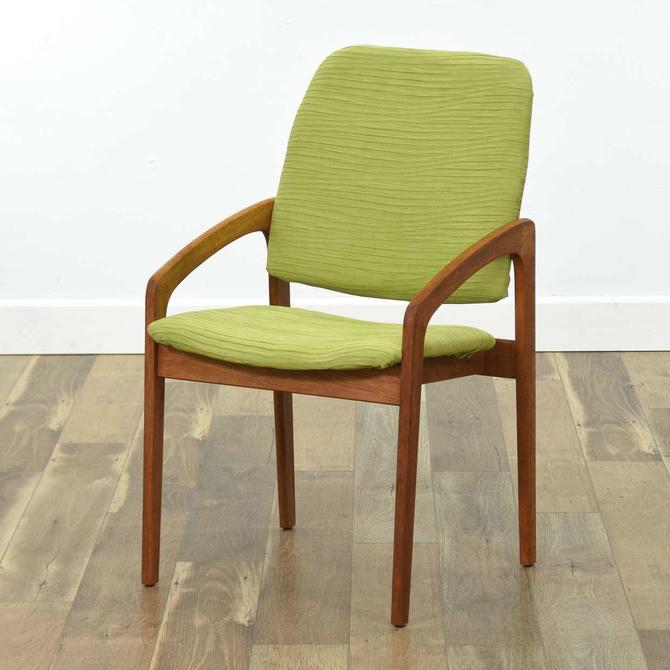 Danish Modern Teak Armchair W Lime Upholstery