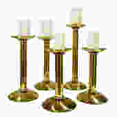 Karl Springer Set of 5 Candle Holders in Brass 1980s