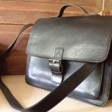 Black Leather Satchel Bag Handbag Mini Briefcase by JansVintageStuff