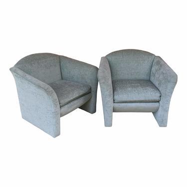 Minty Celadon Green Postmodern Club Chairs - a Pair
