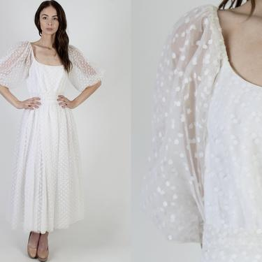 Victor Costa White Lace Wedding Gown / Swiss Polka Dot Bridal Dress / See Through Puff Sleeves / Vintage 80s Party Full Skirt Maxi Dress by americanarchive