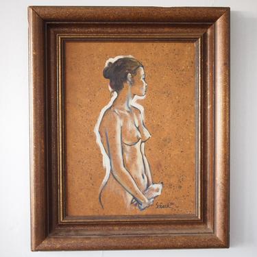"Original ERICH SCHENK 1980 Female Nude Portrait PAINTING 23x18"" Framed Oil / Canvas, Woman Vintage Mid-Century Modern Art eames knoll era by refugegallery"