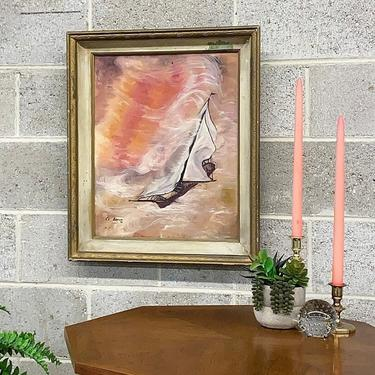 Vintage Ship Painting 1970s Retro Size 24x21 Bohemian + CE Brown + Boat Sailing on Water + Pink +Orange + Psychedelic + Boho + Home Wall Art by RetrospectVintage215