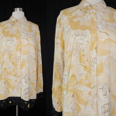 Vintage Diane Von Furstenberg Medium Zodiac Print Washable Silk Long Sleeve Button Up Blouse - Vintage DVF Celestial Astrology Print Top by JanetandJaneVintage