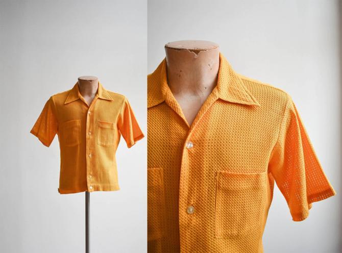 1960s Mesh Mustard Yellow Button Down Shirt by milkandice