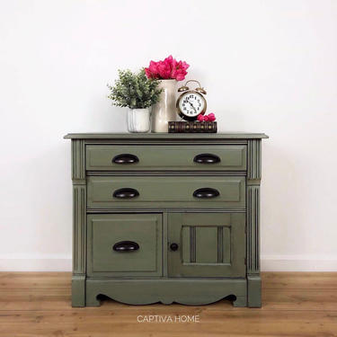 Basil Green Petite Storage Cabinet, Oil Rubbed Bronze Cup Pulls, Handpainted Vintage Furniture, Farmhouse Antique, Repurposed Style by CaptivaHomeDecor