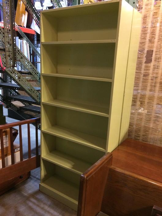Painted Wood Bookshelf 77.75 x 32.75 x 10