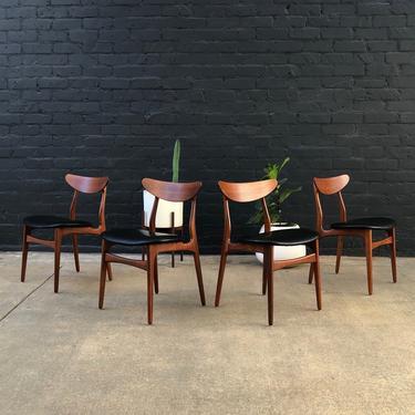 Danish Modern Teak & Leather Dining Chairs by VintageSupplyLA