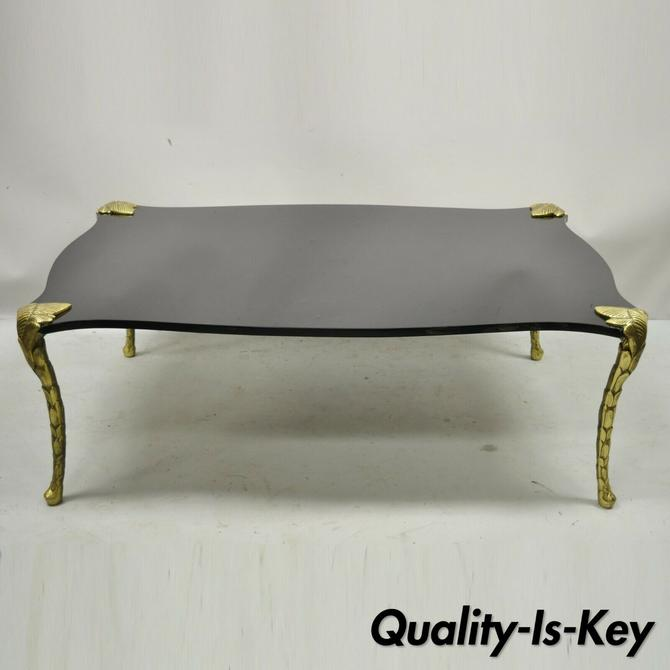 French Hollywood Regency Maison Bagues Bronze Acanthus Faux Bois Coffee Table
