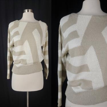 Vintage 80s Acrylic Knit Sweater - Eighties Medium Pullover Geometric Knit Blouse by JanetandJaneVintage