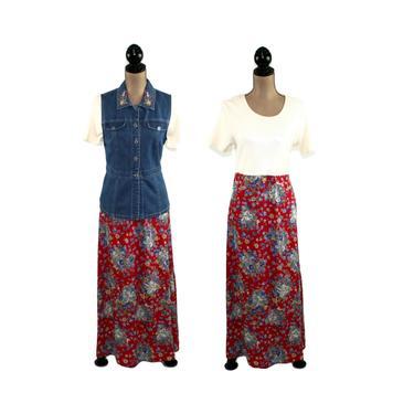90s Long Floral Maxi Dress Medium, Denim Vest Dress, 2 Piece Set, Cottage Core Farmcore, 1990s Clothes Women, Vintage Clothing Bobbie Brooks by MagpieandOtis