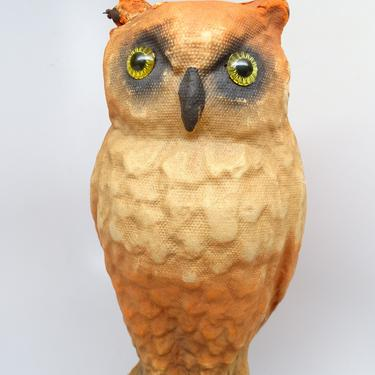 Antique 1930's Halloween 10 1/4 Inch Owl, Glass Eyes and Pulp Paper Mache Candy Container, Vintage Retro Party Decor by exploremag