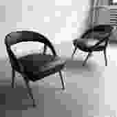 Italian Mid Century Modern Black Vinyl Lounge Chairs