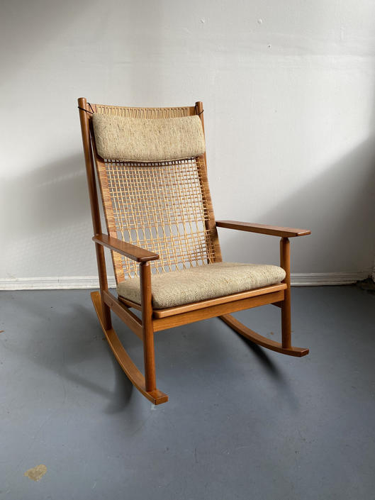 Hans Olsen Teak Rocking Chair with Cane Back by TheModernistUS