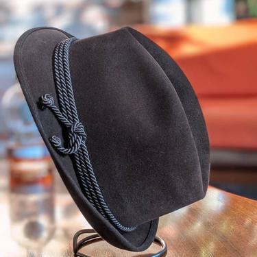 Vintage Marca Colombo Antica Casa Borsalino Alessandria Chocolate Brown Fur Felt Hat with Rope Detail by BeesKneesVintageDC