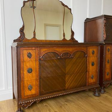 NEW - Rare 1934 Dresser with Mirror, Antique, Vintage Bedroom, Solid Wood Furniture by ForeverPinkVintage