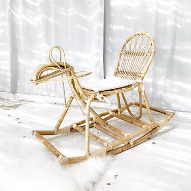 Hand Woven Kid / Children's Rattan Horse Rocker Toy Chair by TheWickedBoheme