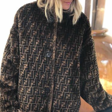 Vintage FENDI FF Zucca Print Reversible Faux Fur MONOGRAM Womens Brown Black Jacket Dress Coat - Wow!!  It 40 / Us M L by MoonStoneVintageLA