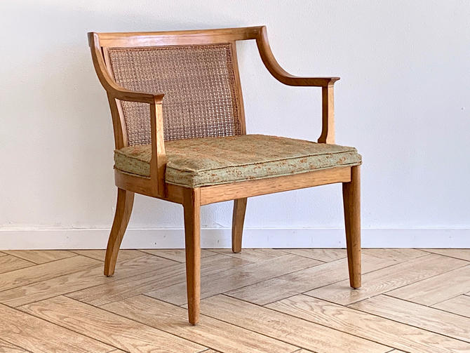 MCM Rattan Back Chair - Midcentury Modern Wide Seat Solid Wood Armchair - Rattan + Wood Side Chair - Dining Table Chair by ShopRachaels