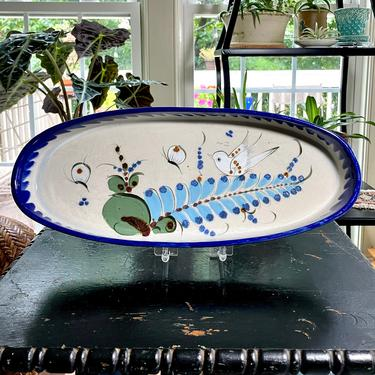 Large Vintage Ken Edwards Stoneware Pottery Tray, Platter, Serving Dish - Hand Painted, Bird Butterflies Flowers, Rustic Mid Century Mexico by VenerablePastiche