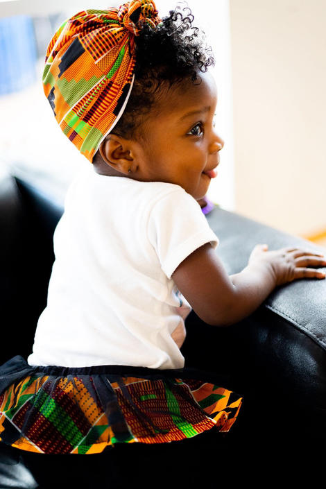 Zizi Kente baby headwrap/turban, kente print, African fabric by PriscArts