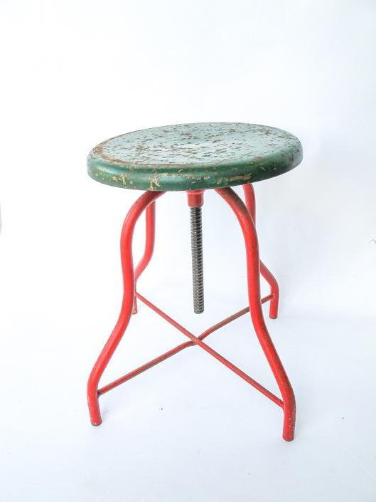 Vintage Industrial Distressed Rustic Green and Red Metal Stool by PortlandRevibe