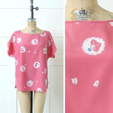 vintage 1980s Malama Hawaii blouse • loose fit vivid pink Japanese iris print short sleeve top by LivingThreadsVintage
