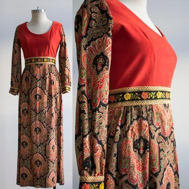 Vintage 1970s Maxi Gown / Renaissance Gown / Paisley Gown / Formal 1970s Gown / 1970s does the Renaissance Dress / Leslie Fay Originals by milkandice