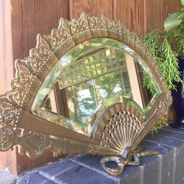 Antique Fan Mirror Brass Bronze by BrainWashington