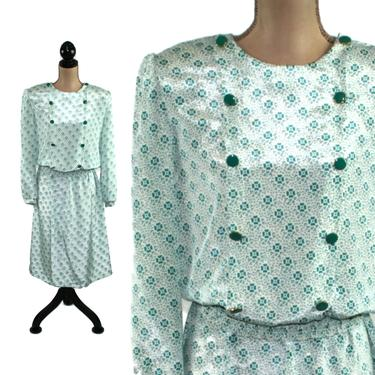 80s Dress Medium, Two Piece Set, Skirt and Top, Long Sleeve Midi, Silky Polyester, Green Floral Print, 1980s Clothes Women, Vintage Clothing by MagpieandOtis