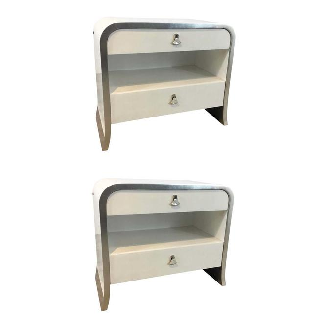 Caracole Modern White and Silver Leaf Shine on Nightstands Pair