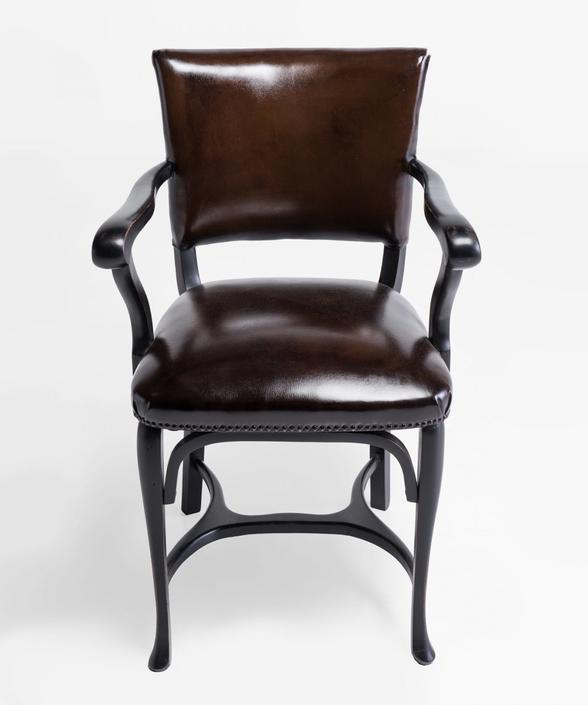Carved Brown Leather Dining Chairs