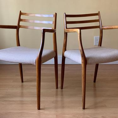 Two Møller Model #62 Armchairs, Designed by Niels Otto Møller, by J.L. Møllers Møbelfabrik, in rosewood and wool fabric by ASISisNOTgoodENOUGH