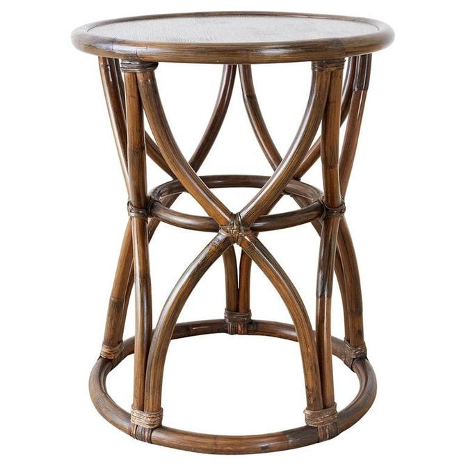 McGuire Organic Modern Bamboo Rattan Round Drink Table by ErinLaneEstate