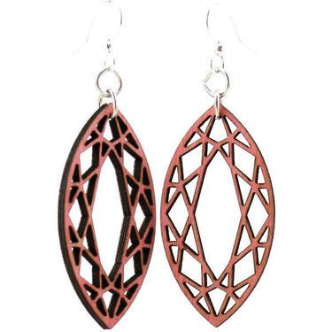 Marquise Diamond Wood Earrings #1604 by GreenTreeJewelry