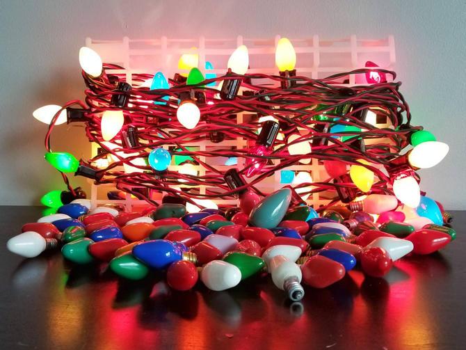 Vintage Christmas Lights.Vintage Glass Bulb Christmas Lights W Extra Bulbs Stranger Things Style Alphabet Wall Lights Retro Christmas Lights Christmas Tree Light By