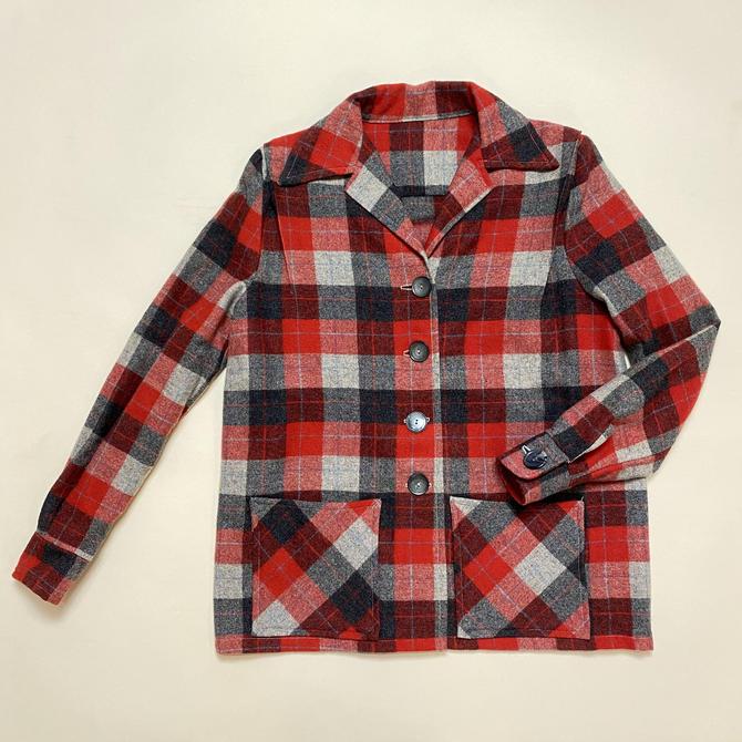 Vintage 1950s 49er Jacket 50s Plaid Red and Grey by littlestarsvintage