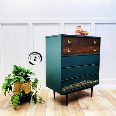 Mid Century Modern Tall boy / Chest of Drawers/ Highboy dresser / boho inspired/ deep teal /emerald green by withlovefurniture10