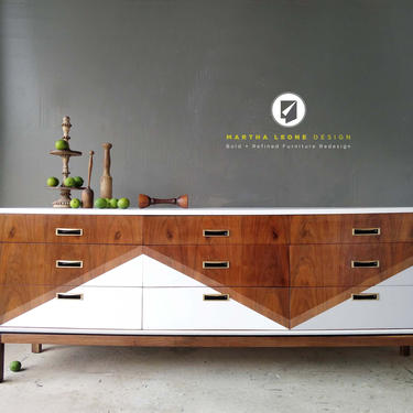 Mid Century Dresser with Custom Surface Design — SAMPLE by MarthaLeoneDesign
