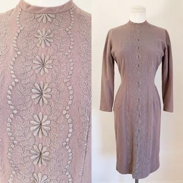 Vintage 1960s Taupe Wool Embroidery Dress / XS by MsTips