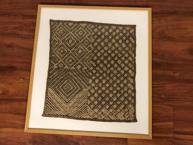 Original Framed Piece of Kuba Cloth - Made in the Democratic Republic of Congo by Vintagefurnitureetc